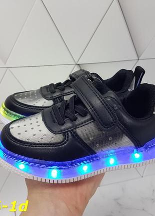 Детские кроссовки кожаные с led подсветкой, детские кроссовки ...