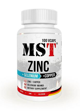 MSTZinc + Selenium + Copper 100 veg caps; цинк селен медь