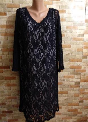 Шикарное стрейч кружевное платье на подкладке 24/58-60 размера