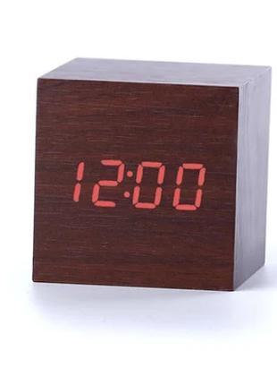 Электронные настольные часы LED WOOD CLOCK VST-869-1