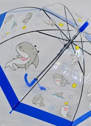 Прозрачный купольный зонтик 2-6 лет с акулой