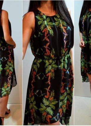 Шифоновое платье,нарядное с удлиненной спинкой.