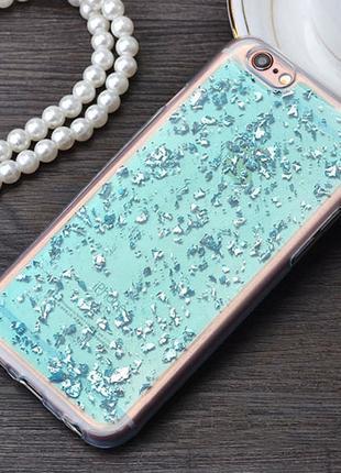 Силиконовый чехол с блестками Голубой для iPhone 6/6s