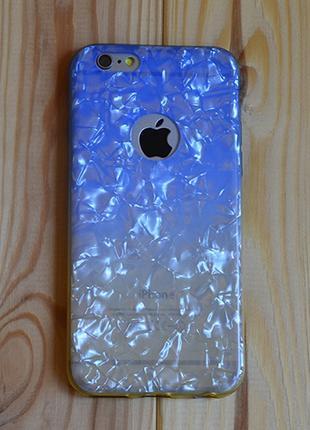 Силиконовый чехол Блестки с вырезом Синий с Желтым для iPhone 6/6