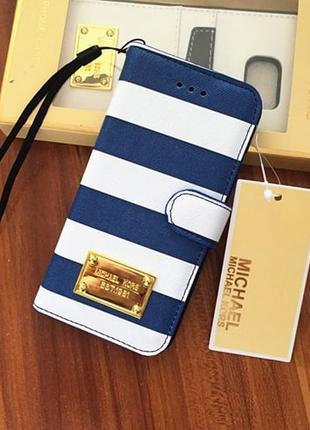 Чехол книжка Michael Kors Strips Синий для IPhone 6/6s