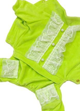 Велюровый костюм Рюша лимонный велюр Одежда для собак