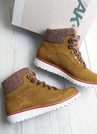 Anne klein оригинал рыжие замшевые ботинки на шнуровке