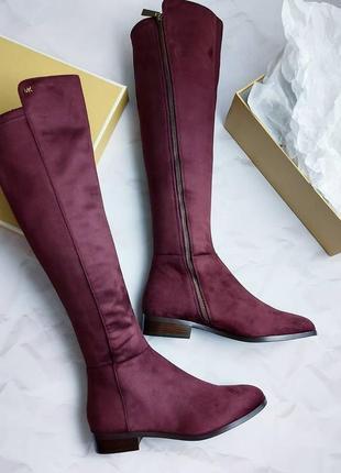 Michael kors оригинал бордовые высокие сапоги ботфорты по колено