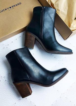 Lucky brand оригинал кожаные черные ботинки ботильоны