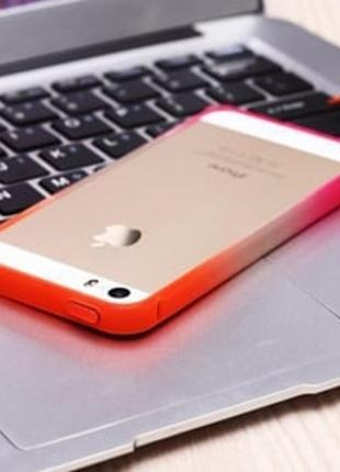 Бампер пластиковый Оранжевый с розовым для IPhone 6