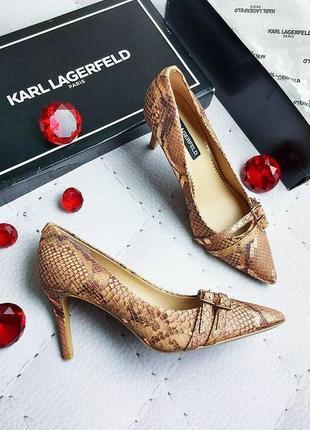 Karl lagerfeld оригинал бежевые с золотистым кожаные туфли лод...