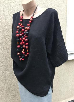 Чёрная блуза,рубаха реглан,этно,бохо стиль,хлопок-лен,большой ...