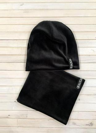 Женская, зимняя, велюровая шапка с шарфом, стильный набор черн...
