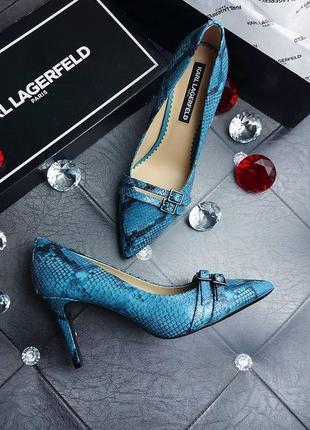 Karl lagerfeld оригинал светло-синие кожаные туфли лодочки с п...
