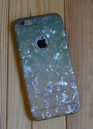 Силиконовый чехол Блестки с вырезом Зеленый с Желтым для iPhone 6
