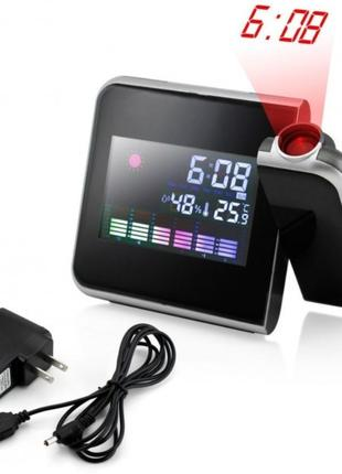 Часы метеостанция с проектором времени на стену Color Screen