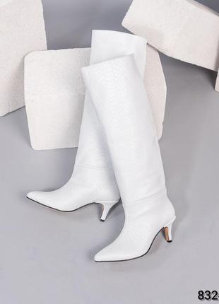 ❤ женские белые кожаные весенние демисезонные сапоги трубы ❤
