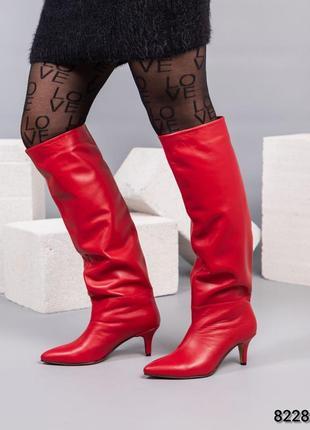 ❤ женские красные кожаные весенние демисезонные сапоги трубы ❤