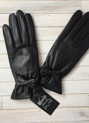 Женские модные, кожаные перчатки, утеплённые на шерсти