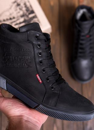 Мужские  зимние кожаные кроссовки  Levis Black Classic