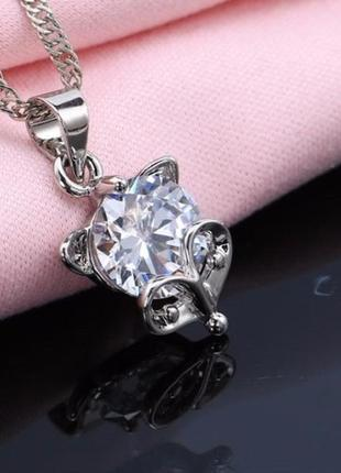 🏵️шикарная подвеска на цепи в серебре 925 с цирконием лисица, ...