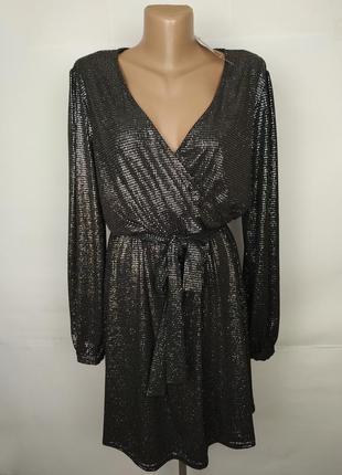 Платье новое стильное серебристое эластичное на запах f&f uk 1...