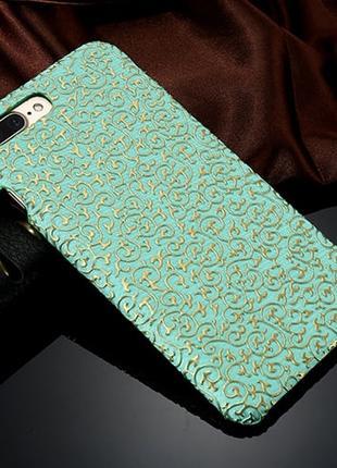 Пластиковый чехол Золотой узор Бирюзовый для iPhone 7