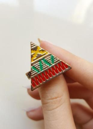 Треугольник бохо яркое кольцо этно с орнаментом