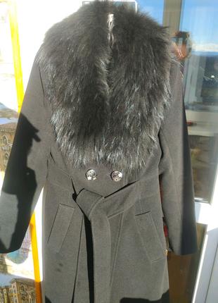 Пальто кашемірове з натуральним хутром