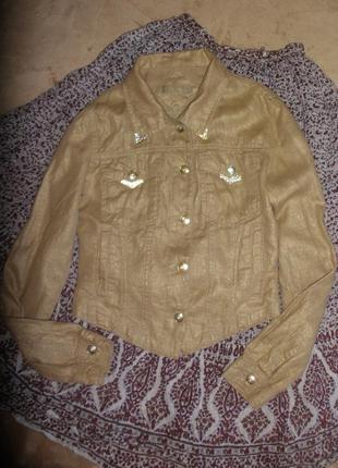 Льняная летняя короткая куртка пиджак жакет secret avenue золо...