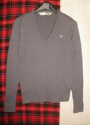 Брендовый пуловер джемпер в косы сrew хлопок ангора