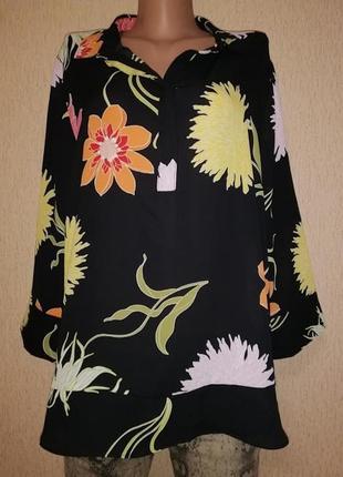 Новая легкая женская блузка, кофта в цветочный принт 18 размер...