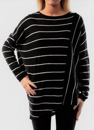 Свитер туника пуловер оверсайз в полоску оверсайз s-m, вырез л...