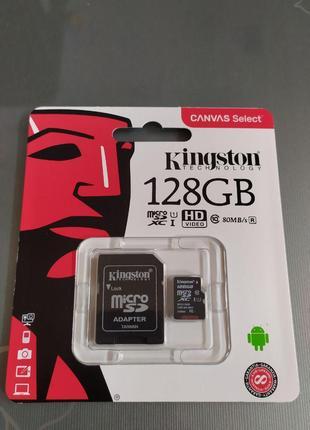 Карта памяти micro SDXC Kingston 128гб class10 UHS-1 + SD adapter