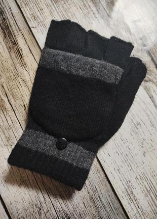 Перчатки-варежки митенки шерстяные мужские без пальцев с рукав...