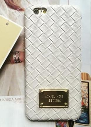 Пластиковый чехол Michael Kors Woven White Белый для IPhone 6 Plu