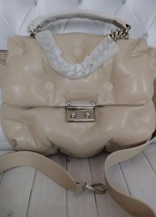 Женская кожаная сумка пуховик в стиле maison margiela 🔥натурал...