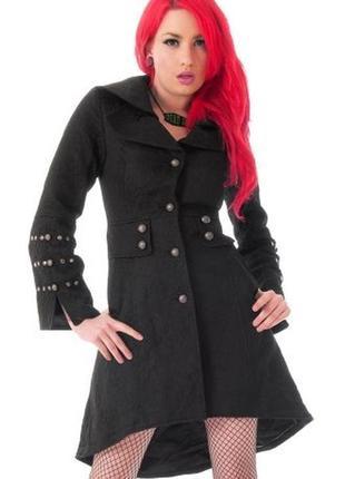 Брендовое черное фактурное демисезонное пальто с карманами мил...