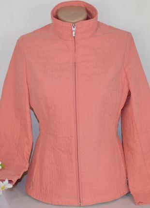 Брендовая коралловая легкая куртка на молнии с карманами marks...