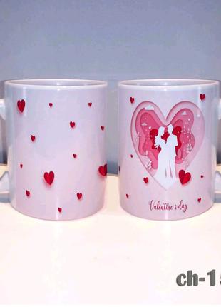 Чашечка ко дню Валентина. Влюбленные.