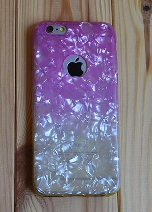 Силиконовый чехол Блестки с вырезом Розовый с Желтым для iPhone 6