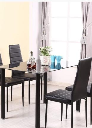 Набор стеклянный обеденный стол PANANA И 4 МЯГКИХ КРЕСЕЛ РАСПРОДА