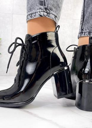 ❤️ стильные лаковые ботинки ботильоны на каблуке