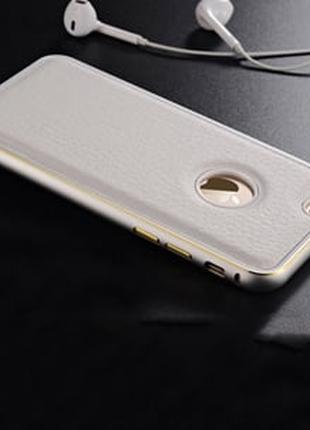 Металлический бампер 0.7мм с кожаной вставкой Белый для IPhone 6