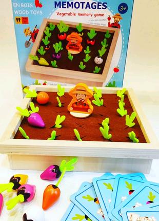 Деревянная игра Ферма Мемори овощи Монтессори