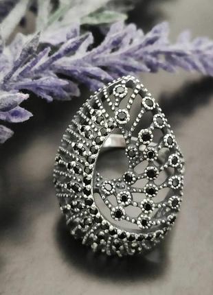 Серебряное кольцо, 925, серебро, кубический цирконий