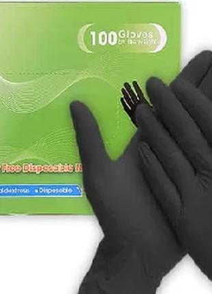 Медицинские нитриловые перчатки черные Vietglove размер М (100 шт
