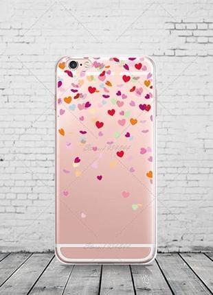Cиликоновый чехол Falling Hearts для iPhone 7&7s