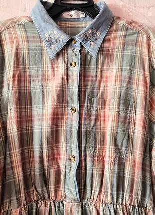 Платье-рубашка в клетку с воротником с вышивкой, большой размер