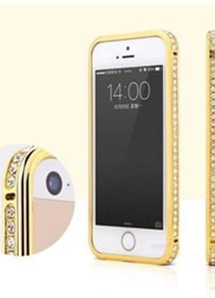 Золотой металлический бампер с камнями в 1 ряд для iPhone 6 Plus